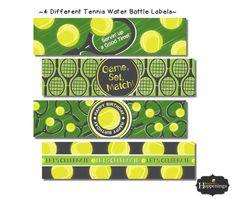 Tennis Birthday Water Bottle Labels Tennis by BusyBeesHappenings