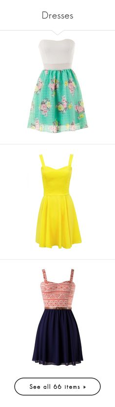 """""""Dresses"""" by fashionfreak4everr ❤ liked on Polyvore featuring dresses, short dress, green strapless dress, green dress, short dresses, white floral dress, green floral dress, yellow, yellow mini dress and lime green dresses"""