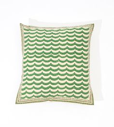 Handblock Pillow in green 16x16....Great source for BoHo bedroom bedding and pillows!!