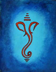 blue Ganesha painting meditation art hindu by PriyamsZenArtCafe