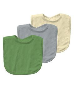 This Cream, Light Blue & Green Organic Bib Set by green sprouts is perfect! #zulilyfinds