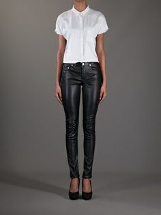SAINT LAURENT - skinny lambskin trouser 7