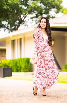 pink crochet paisley boho maxi summer dress