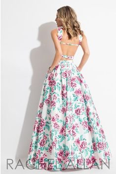 Rachel Allan 7510 White/Pink Two Piece Prom Dress Frocks And Gowns, Pink Two Piece, Pageant Dresses, Saree Blouse, Ball Gowns, Kids Outfits, White Dress, Free Pattern, Color
