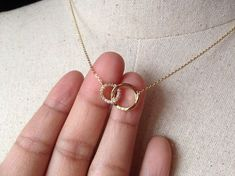 Pavé Two Circles Necklace in Gold, Gold plated, Dainty Necklace, Tiny Round Necklace - Halskette Gold Necklace Simple, Gold Jewelry Simple, Stylish Jewelry, Dainty Necklace, Ring Necklace, Jewelry Necklaces, Cross Necklaces, Jewellery Earrings, Gold Bracelets
