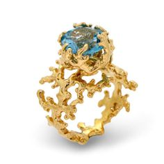 Boticca Blue Topaz Ring Inspired by Ariel, $410 | 45 Engagement Rings Inspired By Disney Princesses