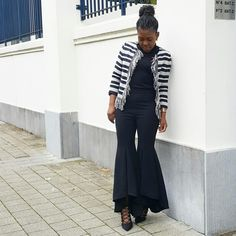Stripes, lace shoes and flare pant