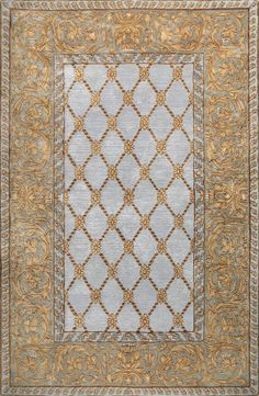 Add a regal touch to your living room or den seating group with this hand-tufted wool rug, showcasing a trellis design and an ornate border. Trellis Rug, Trellis Design, Light Blue Area Rug, Blue Area Rugs, Wool Art, Rugs Usa, Traditional Rugs, Contemporary Rugs, Joss And Main