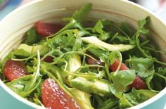 Avocado grapefruit and rocket salad. To serve with Salmon.