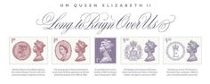 A 1st class stamp which is turning purple to mark the Queen's historic record-breaking reign