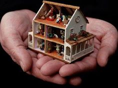 CDHM artisan Karin Caspar of KC Designs, 144 scale dolls house, haunted dollhouse miniatures - diy Miniature Rooms, Miniature Crafts, Miniature Houses, Miniature Furniture, Dollhouse Furniture, Haunted Dollhouse, Dollhouse Dolls, Dollhouse Miniatures, Mini Doll House