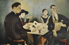 """Almada Negreiros - """"Self portrait of the painter, seated at a café table with the Spanish dancer and actress Julia de Aguillar, the actress Aurora Gil and the professor and poet Doria Nazaré, 1925."""