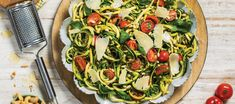 This bright and colourful pasta recipe is based on rustic complementary flavours that will wow your guests in their simplicity. Replace the parmesan with some nutritional yeast for a quick 'n easy vegan option. Pasta Recipes, Salad Recipes, Zucchini Noodles, Vegan Options, Fresh Basil, Tossed, Vegetable Pizza, Pesto, Good Food