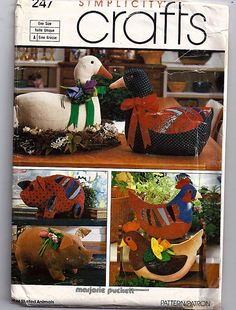 Set of Stuffed Animals - One Size / Original Simplicity Crafts Uncut Sewing Pattern 247 by grammysyarngarden on Etsy