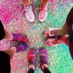 color shoes after the color run-- We have to take this picture!!