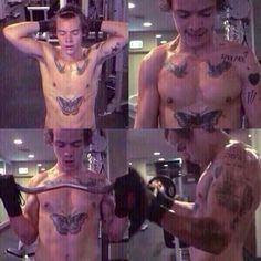 Harry working out. I CAN'T HANDLE THIS! LOOK AT THE MUSCLES & THE SWEAT! THE TEARS ARE REAL!