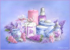 Scents of Lilac - Penny Parker Decoupage Vintage, Decoupage Paper, Penny Parker, 2 Clipart, Shabby Chic Crafts, Atc Cards, Bathroom Art, Bathrooms, Illustrations
