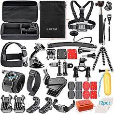 RUITAI 50-in-1 Zubeh�r Bundle Kit f�r GoPro Hero4 Session Hero 1 2 3 3 + 4 SJ4000 5000 6000 7000 Xiaomi Yi in Schwimmen Rudern Skifahren Klettern Bike Riding Camping Tauchen und andere Outdoor-Sportarten