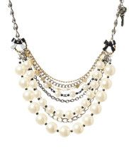 "Betsy Johnson. A fun take on ""Serious' pearls"