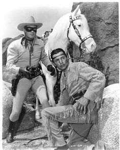"""The Lone Ranger & Tonto - Hi Ho Silver! My favorite western to listen to on the radio, and then on TV in the I was in love with the Lone Ranger and thought Tonto was really cool. He said, """"Sometimes white man, not so smart as horse. Photo Vintage, Vintage Tv, Vintage Hair, Vintage Hollywood, Classic Hollywood, Vintage Posters, Vintage Fashion, Tv Westerns, The Lone Ranger"""