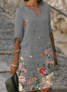 Floral Sleeve, Floral Tunic, Womens Fashion Online, Latest Fashion For Women, Half Sleeves, Types Of Sleeves, Mode Xl, Women's Fashion Dresses, Casual Dresses