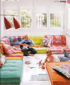 Super kid space. +how to make the big floor cushions. www.reallivingmag.com