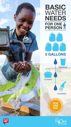 Did you know? Five gallons of water = the drinking, cooking and cleaning needs of ONE person for ONE day. Give H2OPE to Others and help us reach our goal of donating 15 million gallons of clean water to families in need.