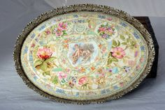 Mary P Mosaics vintage china mosaic metal tray shabby chic french country