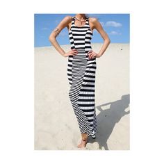 Casual U Neck Sleeveless Striped Women s Maxi Dress ($14) ❤ liked on Polyvore featuring dresses, black, striped maxi dress, black maxi dress, kohl dresses, black dress and black stripe dress