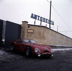 Alfa Romeo TZ leaving the Autodelta factory