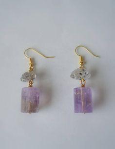Amethyst Herkimer Diamond and Gold Earrings Amethyst