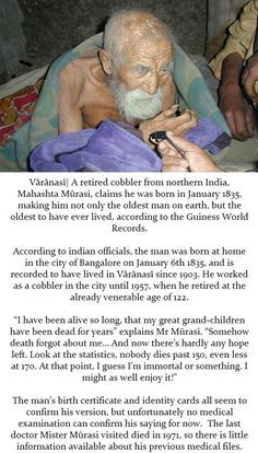 The oldest man on earth...is this true