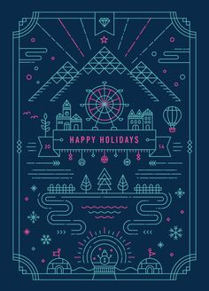 line art Holiday Greeting Card by Yiwen Lu Web Design, Line Design, Design Art, Design Graphique, Art Graphique, Line Illustration, Graphic Design Illustration, Art Illustrations, Dm Poster