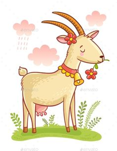 Find Cute Farm Animal Goat Colorful Illustration stock images in HD and millions of other royalty-free stock photos, illustrations and vectors in the Shutterstock collection. Thousands of new, high-quality pictures added every day. Art Drawings For Kids, Doodle Drawings, Drawing For Kids, Easy Drawings, Cartoon Kunst, Cartoon Drawings, Animal Drawings, Cartoon Art, Farm Cartoon