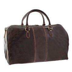 Kenneth Brownne Small Luxury Dark Brown Italian Leather Holdall Overnight Bag