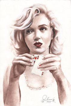 drawing Marilyn Monroe - artist?  | This image first pinned to Marilyn Monroe Art board, here: http://pinterest.com/fairbanksgrafix/marilyn-monroe-art/ || #Art #MarilynMonroe
