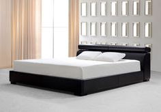 Logan Black Leather Bed with storage from the Beds collection at Modern Area Rugs