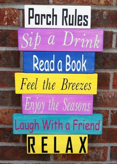Porch Rules Wood Sign Read a Book Sign Home Decor Summer Porch Sign