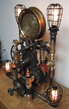 Steampunk Lamp Light Industrial Art Machine Age by PipeLightArt #Steampunk #Industrial #Art #Sculpture #Lamp