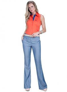 calca flare azul jeans principessa wisla
