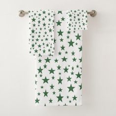 Green Stars Bath Towel Set - fun gifts funny diy customize personal