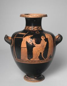 Hydria (water jar): Family Scene 440 BCE - 430 BCE. Domestic scene, father, mother, child and nurse; loom in background. Mended. Greek. Classical period, High. | Harvard Art Museums