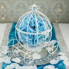 """11.5"""" Wire Frame Cinderella Pumpkin Carriage Wedding Centerpiece Decoration (White)"""