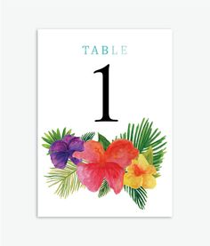 Tropical Watercolor Floral Wedding Table Numbers 1-20 by ConteurCo