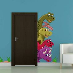Color wall sticker Dinosaurs por artstickercouk en Etsy