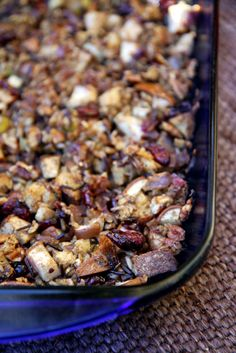 StuffingCranberry-Pear Wild Rice Stuffing 2 1/2 cups low-sodium vegetable broth 2/3 cup raw wild rice 1 1/2 tablespoons olive oil 1 medium red onion, chopped 2 large celery stalks, diced 2 medium firm pears, cored and diced 2 cups finely diced whole grain bread 1/3 cup dried cranberries 1/4 cup chopped pecans 2 teaspoons salt-free seasoning (like Spike or Mrs. Dash) 1/2 teaspoon dried thyme Salt and freshly ground pepper to taste 1/2 cup apple cider