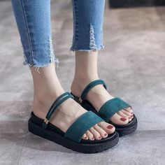 ca07ab64585bf1 Buy Sandals Open Toe Flip Flops Women s Sandles Thick Heel Women Shoes  Korean Style Gladiator Shoes
