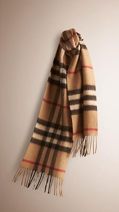 Burberry Camel Check Heritage Check Cashmere Scarf -  A soft brushed cashmere scarf featuring the iconic check. The scarf is made in Scotland at a mill with a long heritage in producing cashmere. To create a subtle lustre and soft texture, the cashmere is washed in spring water, then woven on traditional looms and brushed with natural teasels. Discover the childrenswear collection at Burberry.com