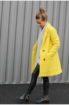 Manteau femme hiver jaune moutarde