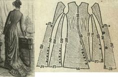 Tygodnik Mód 1878.: Indoor gown with princess overdress from olive green reps fabric.